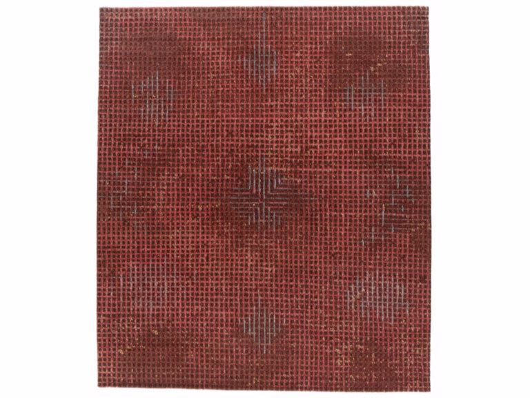 Handmade rectangular rug TUMULTE RED by Golran