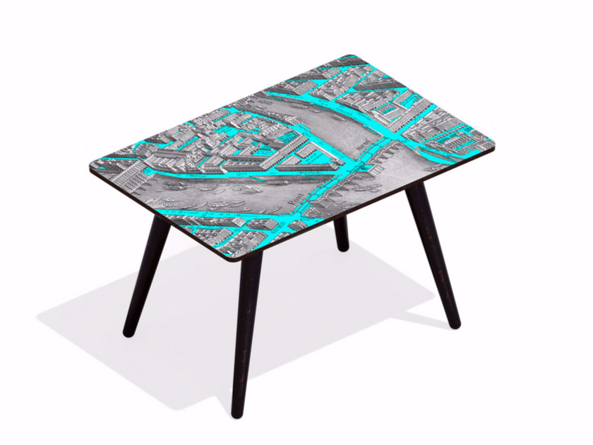 Rectangular beech wood and HPL coffee table TURGOT PONT NEUF L CYAN | Rectangular coffee table - Bazartherapy