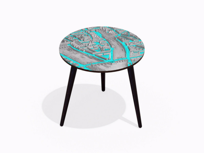 Round beech wood and HPL coffee table TURGOT PONT NEUF M CYAN | Round coffee table - Bazartherapy