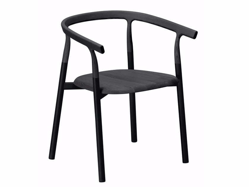 Aluminium and wood chair with armrests TWIG 1 - 10A - Alias