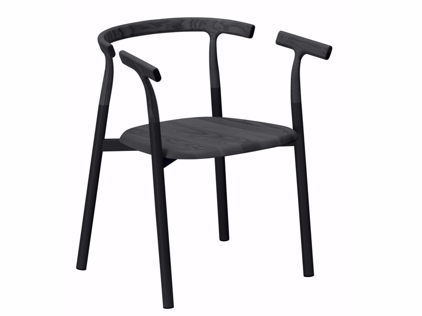 Aluminium and wood chair with armrests TWIG 3 - 10B by Alias