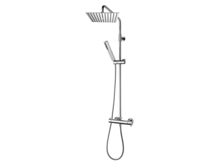 Wall-mounted thermostatic shower panel with hand shower Twiggy Column - 250 x 250 mm - Bossini