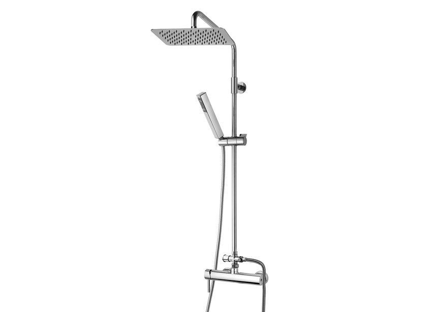 Wall-mounted shower panel with hand shower Twiggy Column - 300 x 200 mm - Bossini