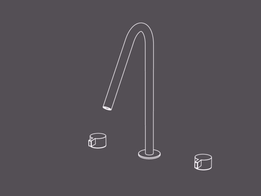 Miscelatore per lavabo a 3 fori da piano in acciaio inox senza scarico TXQ24 | Miscelatore per lavabo - Radomonte
