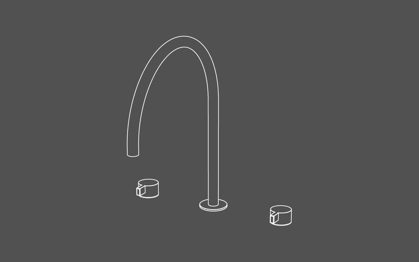 Miscelatore per lavabo a 3 fori da piano in acciaio inox senza scarico TXQ26 | Miscelatore per lavabo - Radomonte
