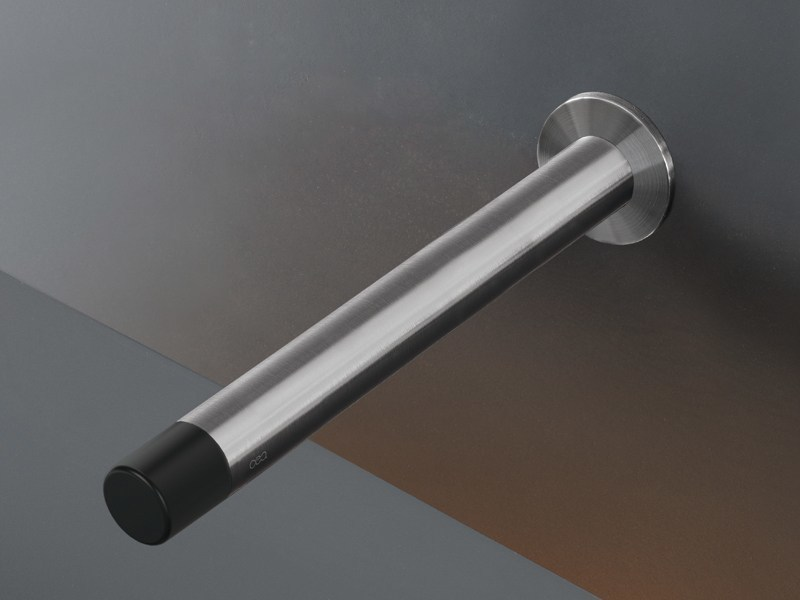 Brushed-finish wall-mounted stainless steel spout UDT 34 - Ceadesign S.r.l. s.u.