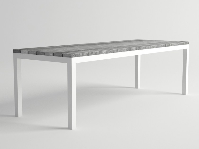 Rectangular aluminium and wood garden table ULTRA | Garden table - 10Deka