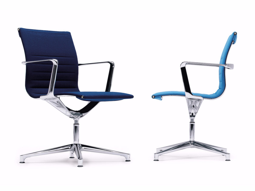 Swivel fabric task chair with 4-Spoke base with armrests UNA CHAIR MANAGMENT | Fabric task chair by ICF