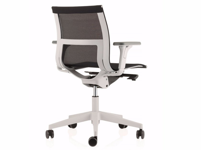 Swivel mesh task chair with 5-Spoke base with casters UNA PLUS HD | Mesh task chair by ICF