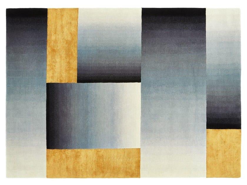 Handmade rectangular wool rug UP AND OVER by Deirdre Dyson