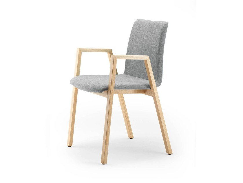 Upholstered stackable chair with armrests PAN | Upholstered chair by rosconi
