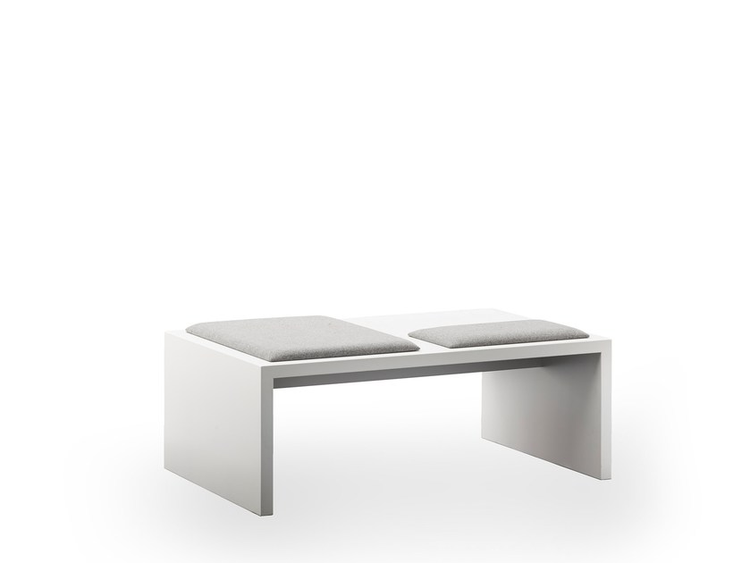 Upholstered lacquered bench seating LIMES | Upholstered indoor bench by rosconi