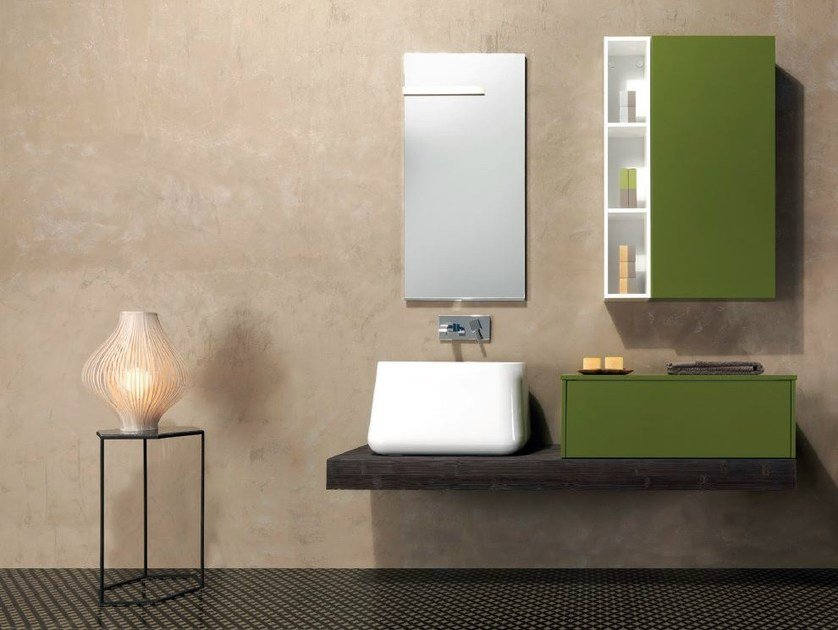 Wall-mounted vanity unit with cabinets V58 - Mobiltesino