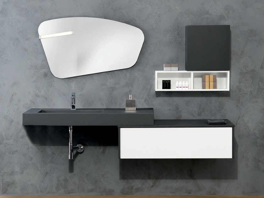 Lacquered wall-mounted vanity unit V68 - Mobiltesino