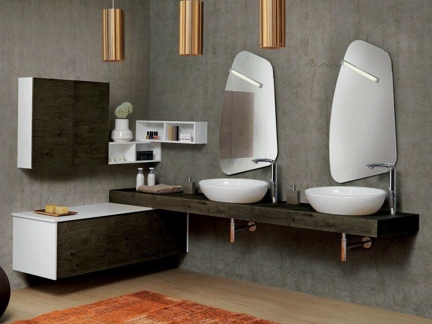 Corner double wall-mounted vanity unit V69 - Mobiltesino