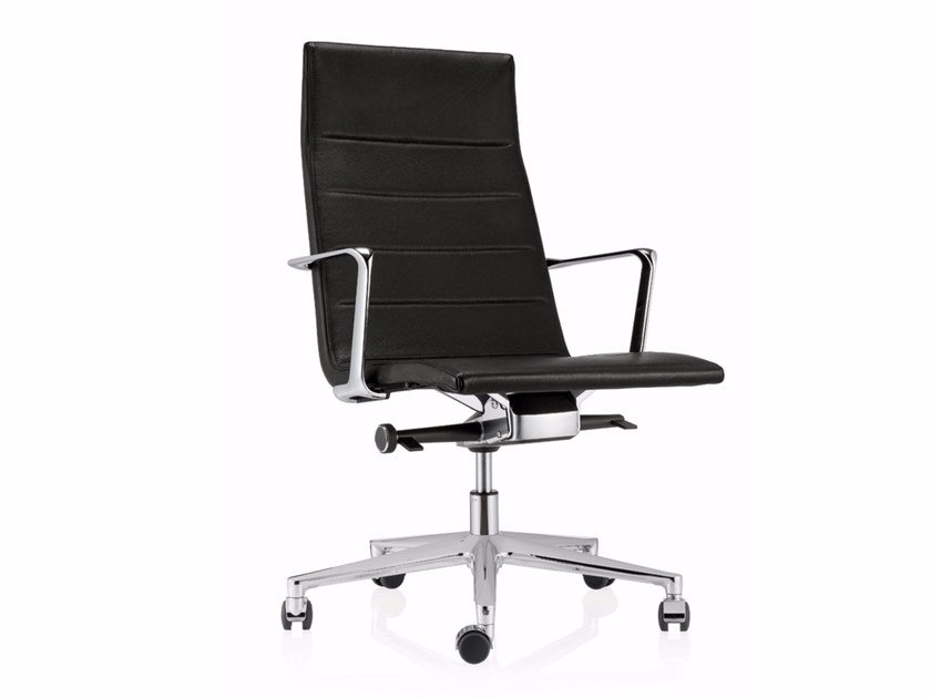 Swivel leather task chair with 5-Spoke base with casters VALEA ELLE | Leather task chair - ICF