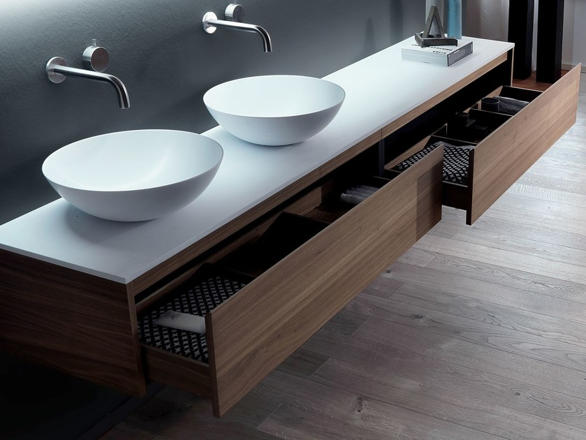 Wall-mounted wooden vanity unit with drawers VIA VENETO - G | Wooden vanity unit by FALPER