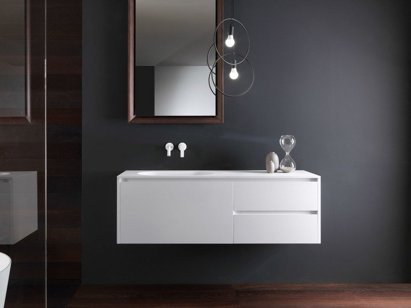 Wall-mounted wooden vanity unit with drawers VIA VENETO - G | Lacquered vanity unit by FALPER