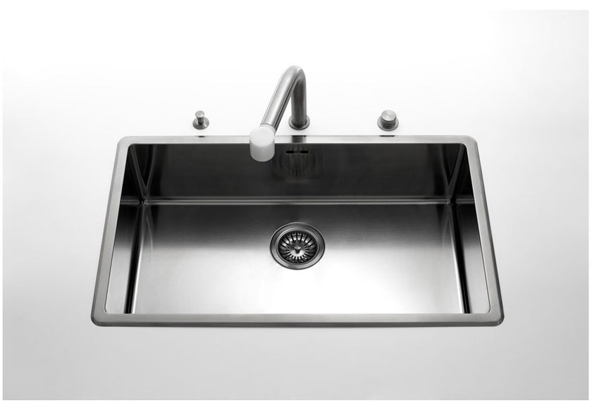 Contemporary style single jetted stainless steel sink with drawer VASCHE INCASSO RAGGIO 12 | Stainless steel sink - ALPES-INOX