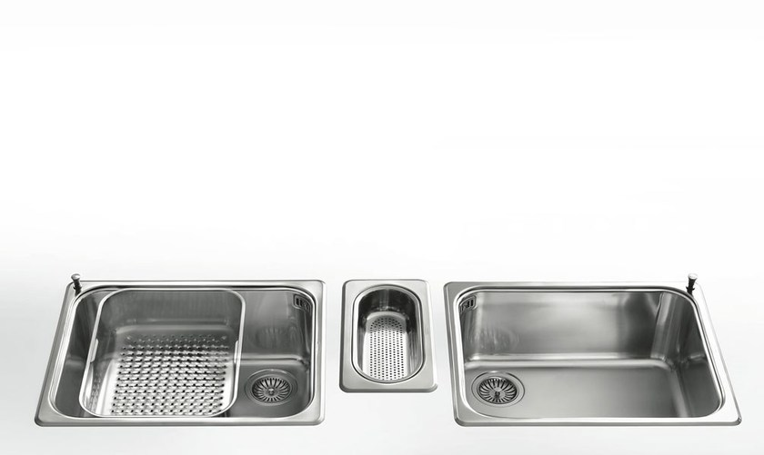 Contemporary style single jetted stainless steel sink with drawer VASCHE INCASSO RAGGIO 60 | Stainless steel sink - ALPES-INOX