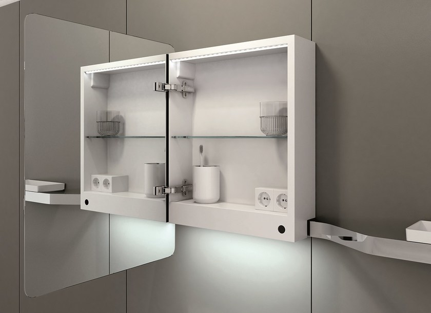Bathroom mirror with cabinet VASE | Mirror with cabinet - INBANI