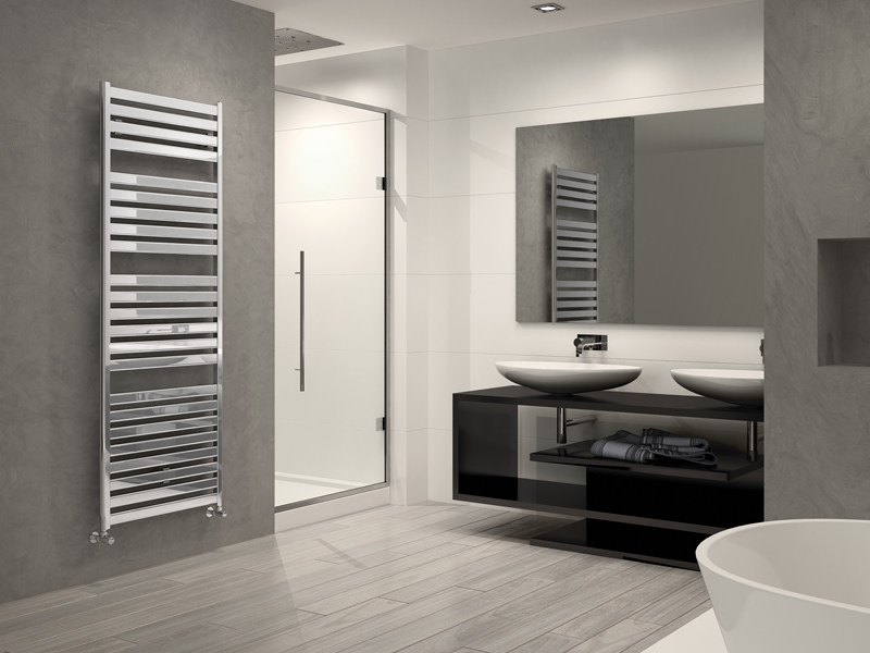 Scaldasalviette verticale in acciaio cromato a parete vela - Termoarredo bagno cromato ...