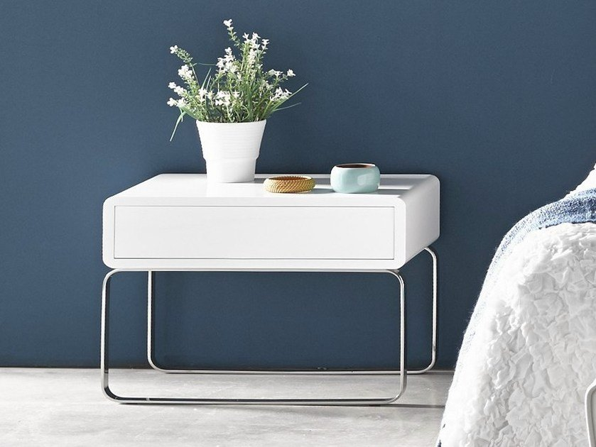 Lacquered bedside table with drawers VELVET | Bedside table - Altinox Minimal Design