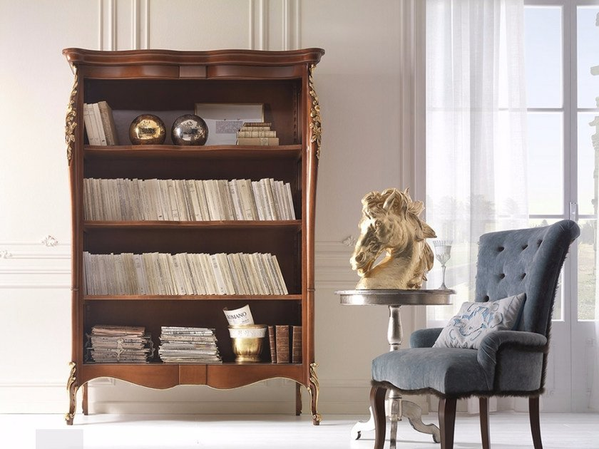 Open freestanding solid wood bookcase VENERE | Bookcase - Arvestyle