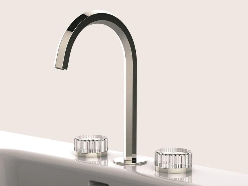 Gruppo lavabo a 3 fori con maniglie in cristallo molato VENEZIA | Rubinetto per lavabo a 3 fori - Fantini Rubinetti