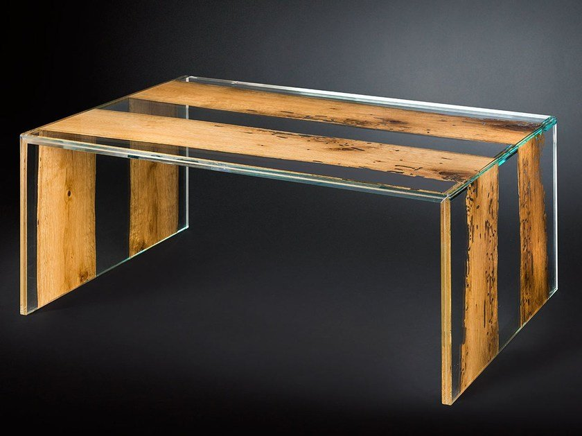 Rectangular wood and glass coffee table VENEZIA | Rectangular coffee table - VGnewtrend