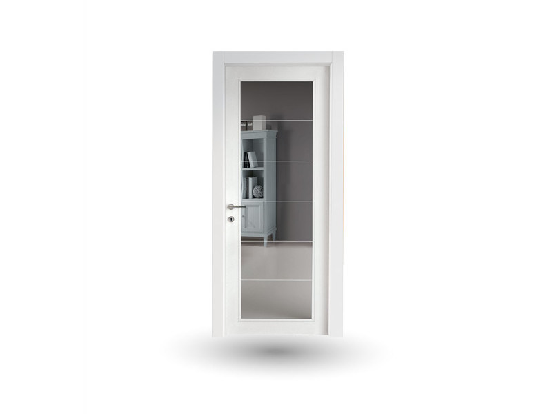 Hinged wood and glass door VENUS 376V1 LACCATO BIANCO by GD DORIGO