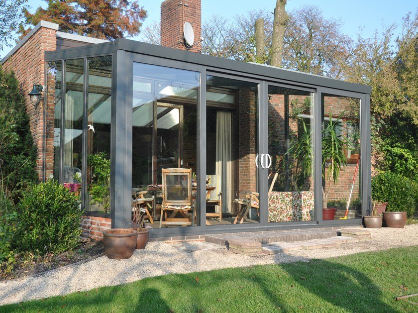 Glass and aluminium conservatory Gardenroom with Sliding Door by Gardendreams