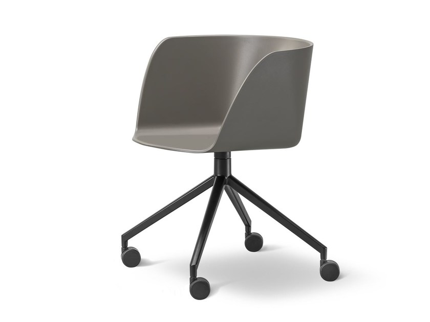 Chair with 4-spoke base with casters VERVE | Chair with casters - FREDERICIA FURNITURE