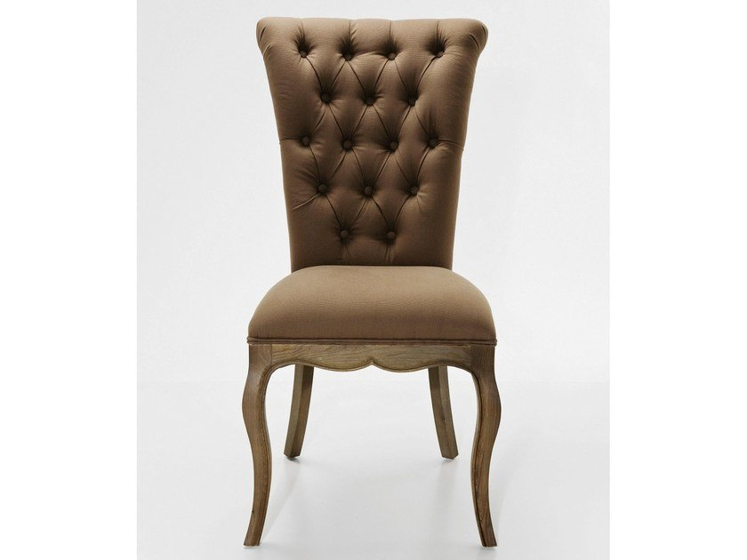Tufted upholstered fabric chair VILLA OAK TAUPE - KARE-DESIGN