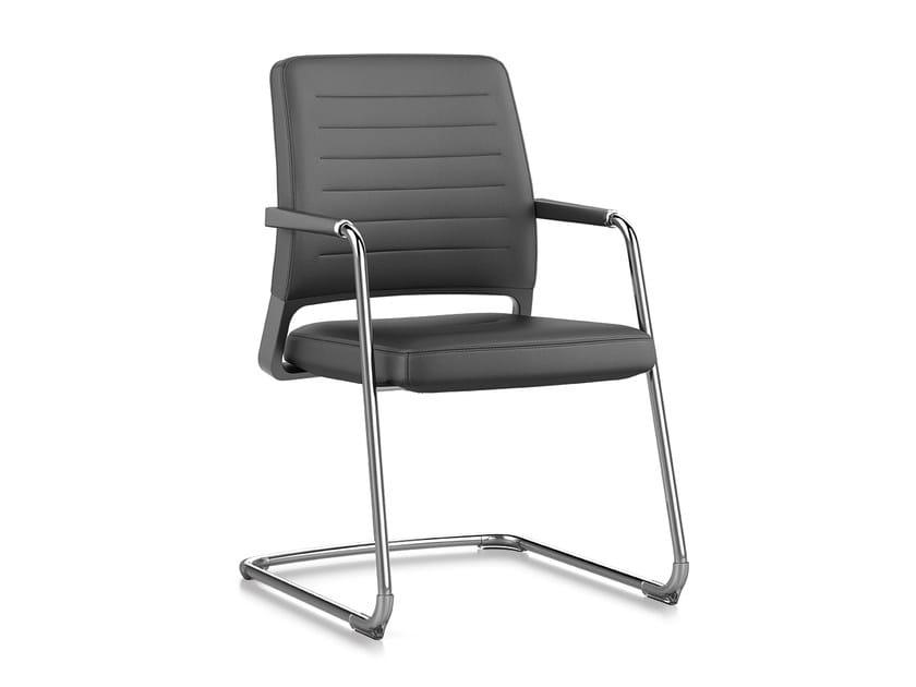 Cantilever upholstered leather chair with armrests VINTAGE IS5 56V0 by Interstuhl