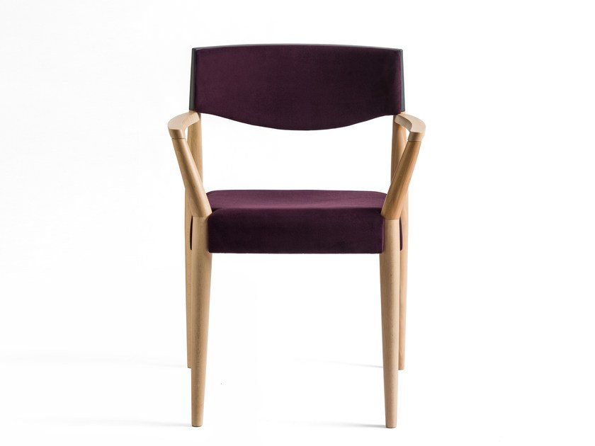 Upholstered fabric chair with armrests VIRNA | Fabric chair by ALMA DESIGN