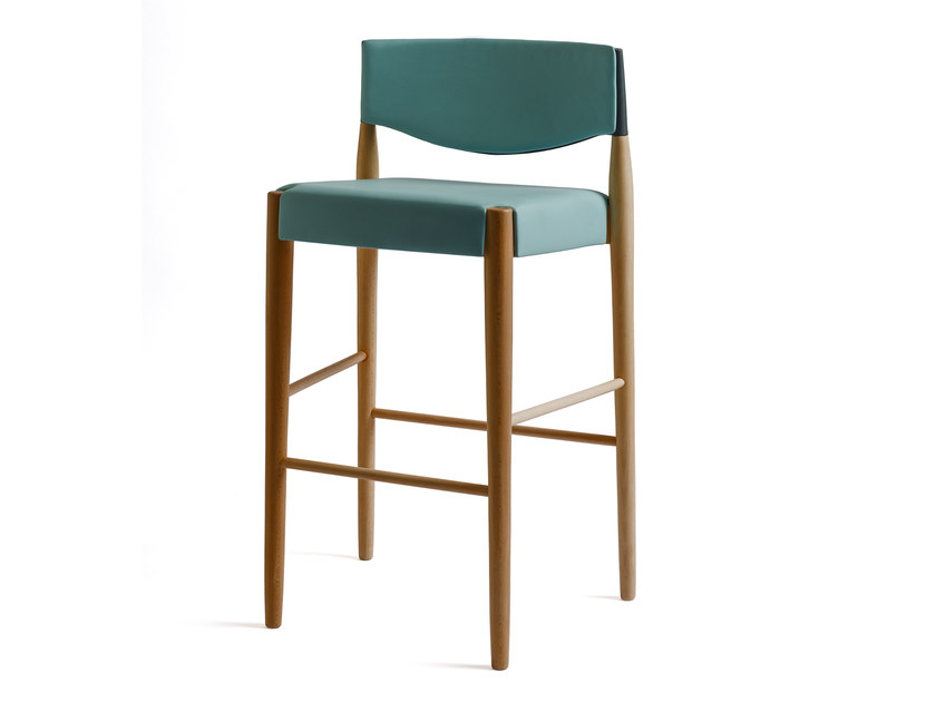 High upholstered leather stool VIRNA | Leather stool by ALMA DESIGN