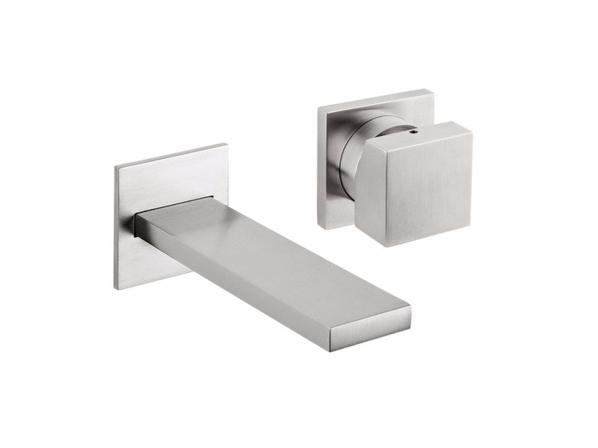 Wall-mounted stainless steel washbasin mixer with aerator VITRUVIO B45+3500 by MINA