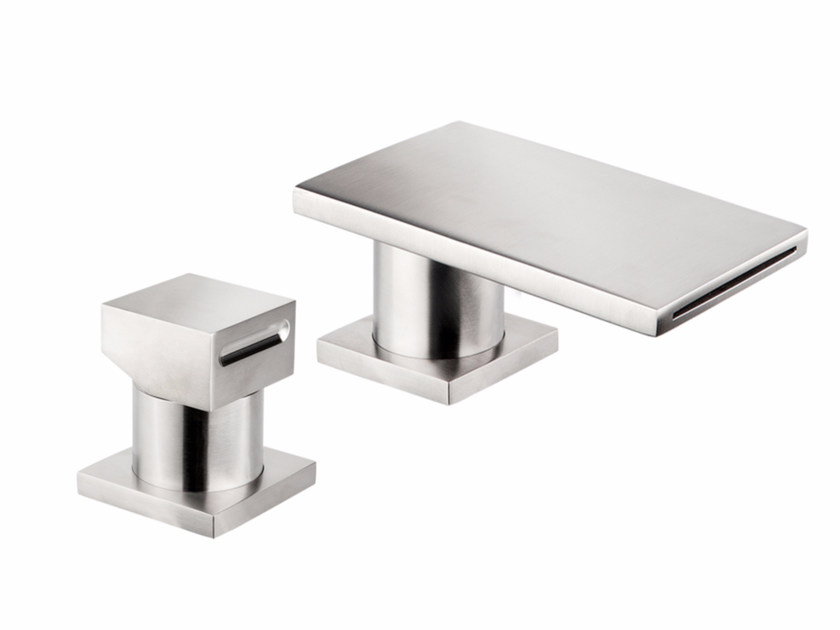 Miscelatore per lavabo a 2 fori a cascata da piano in acciaio inox VITRUVIO BSP100+3090 by MINA