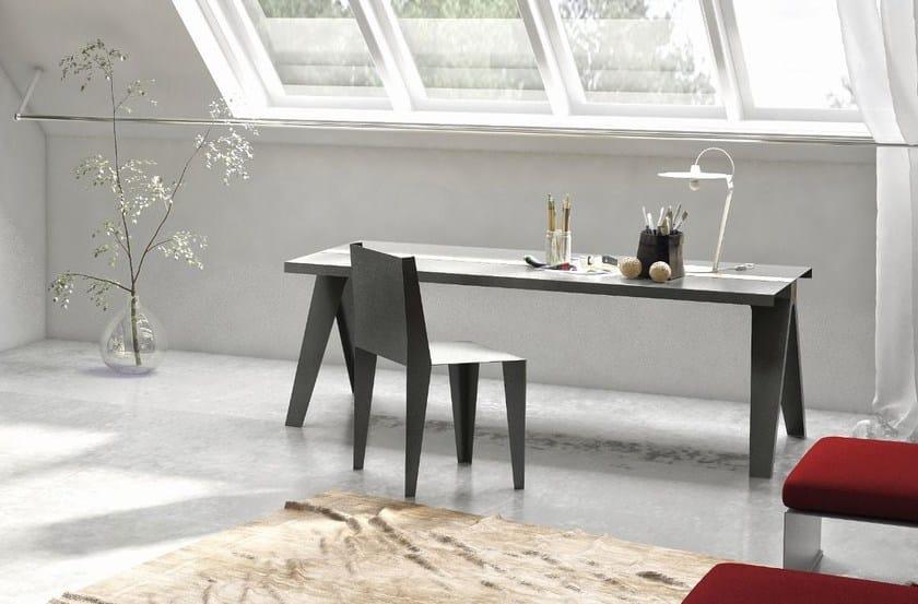 Tavolo rettangolare in acciaio e legno volta by officine tamborrino design marco de masi - Tavolo legno e acciaio ...