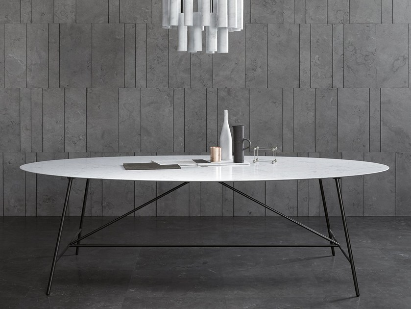 Oval natural stone table W | Oval table by SALVATORI