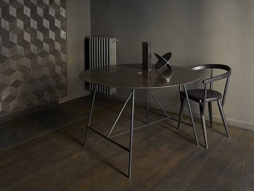 Round natural stone table W | Round table by SALVATORI