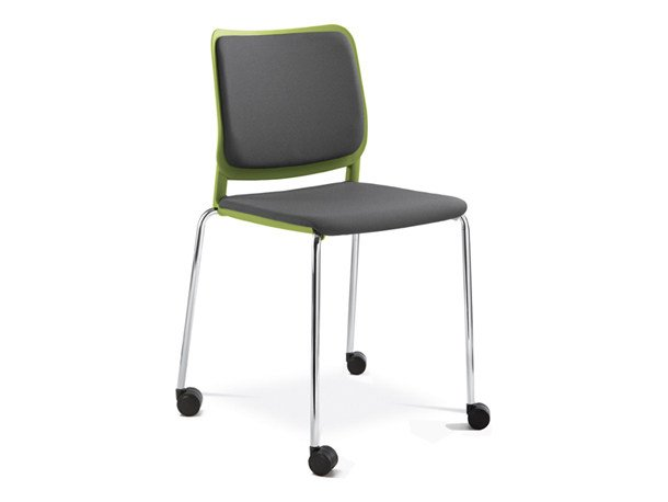 Plastic training chair with integrated cushion with casters WAIT | Chair with casters by NARBUTAS