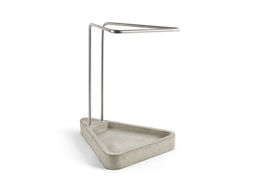 Stainless steel and cement umbrella stand WAITING by Atipico