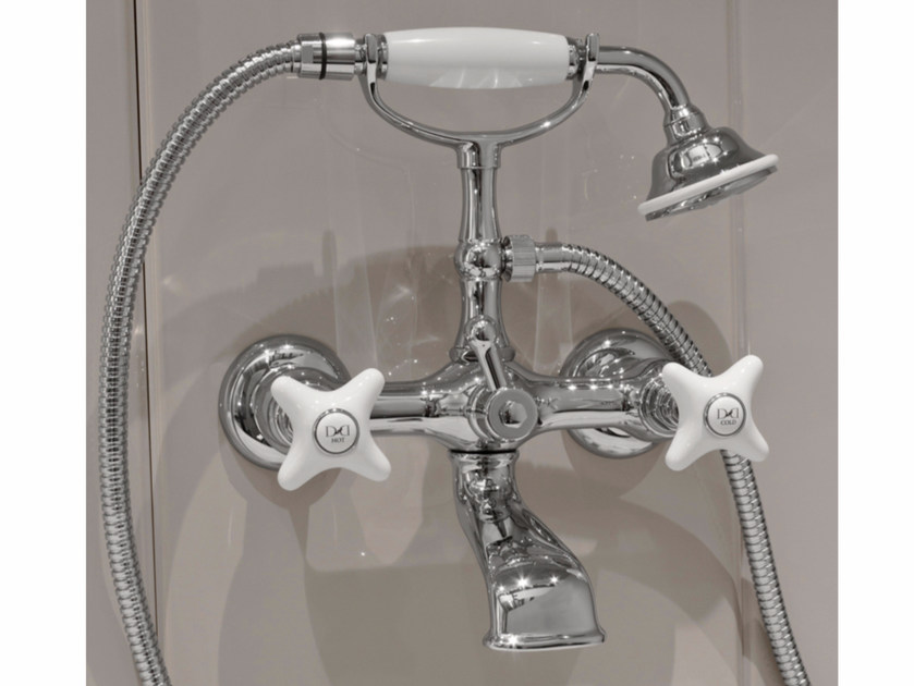 Wall-mounted bathtub tap with hand shower WHITE ROSE | Wall-mounted bathtub tap - Devon&Devon
