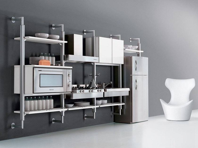 Wall-mounted aluminium and wood fitted kitchen SYSTEMATICA | Wall-mounted kitchen - Oikos Cucine