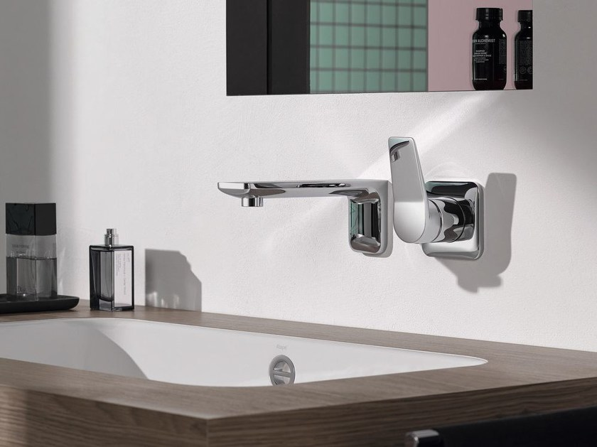 Wall-mounted chromed brass washbasin mixer LISSÉ | Wall-mounted washbasin mixer - Dornbracht