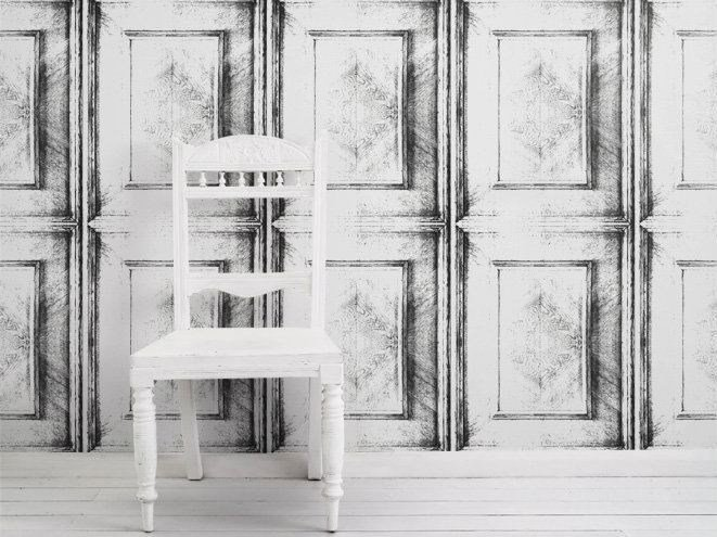 Motif wallpaper ALMOST WHITE DUTCH INLAY PANELLING - Mineheart