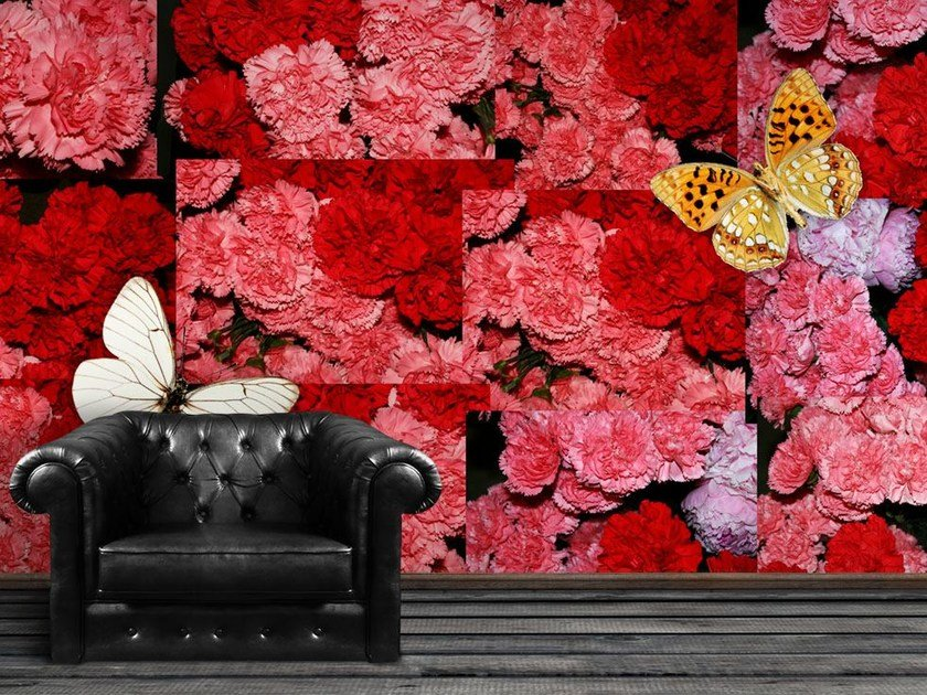 Wallpaper with floral pattern CARNATION by Wallpepper