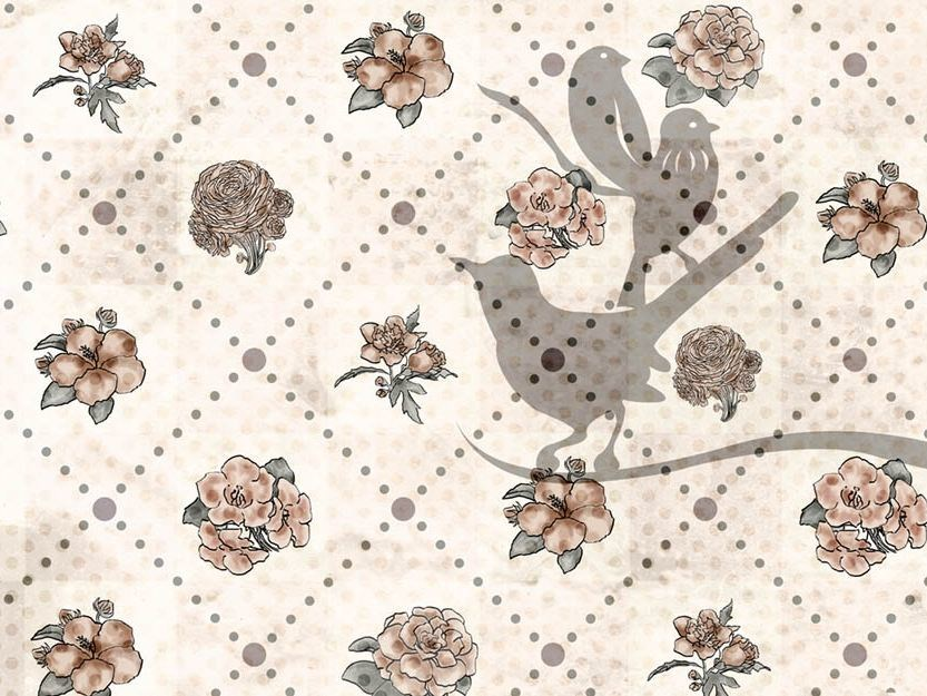 Wallpaper BIRDS AND FLOWERS - Wallpepper